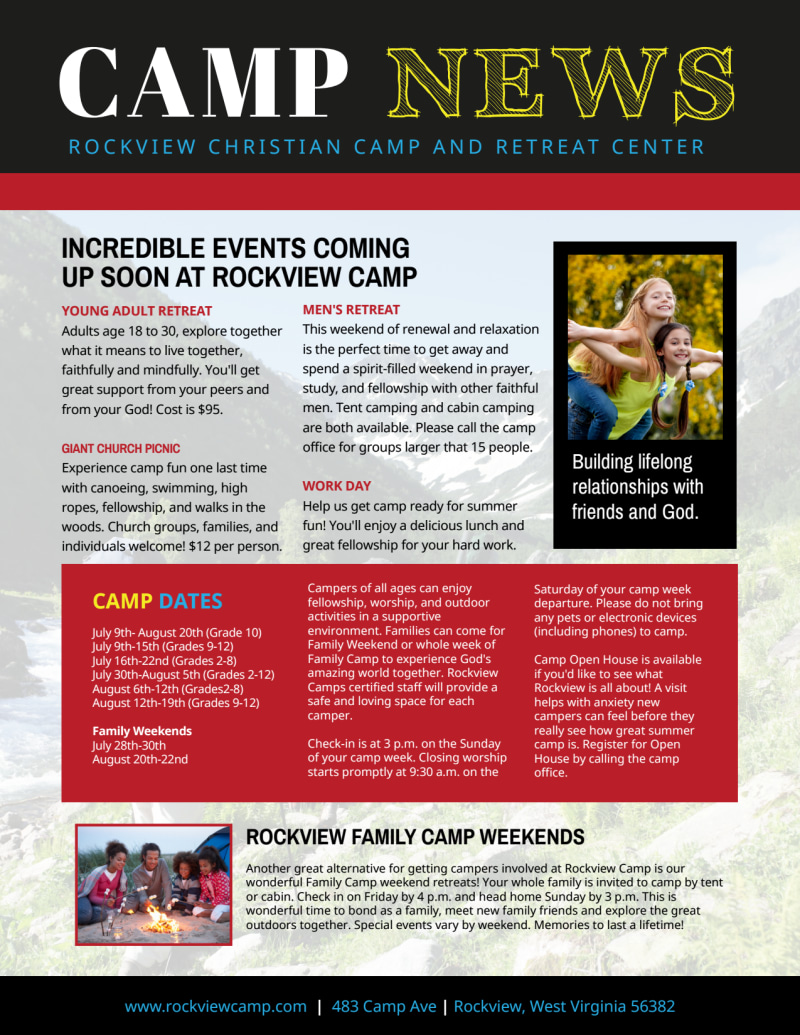 Playful Church Camp Newsletter Template Preview 3