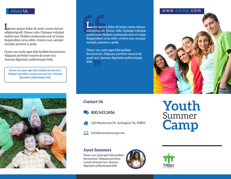 Youth Church Camp Tri-Fold Brochure Template Preview 2