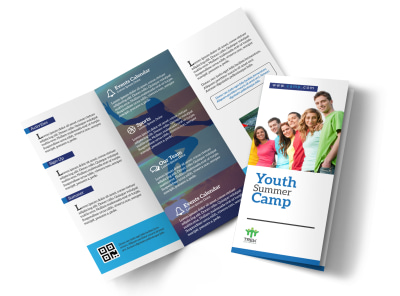 Youth Church Camp Tri-Fold Brochure Template preview