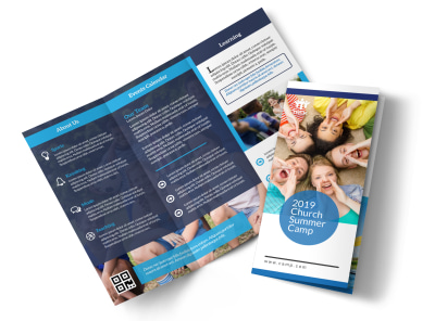 Church Summer Camp Tri-Fold Brochure Template preview