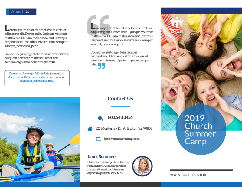 Church Summer Camp Tri-Fold Brochure Template Preview 2