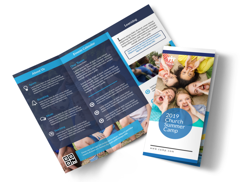 Church Summer Camp Tri-Fold Brochure Template Preview 1