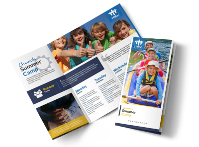 Classic Church Camp Tri-Fold Brochure Template preview
