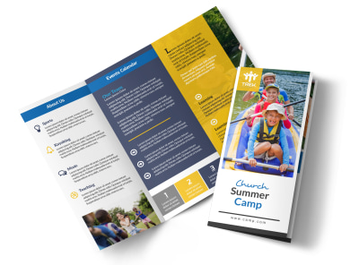 Modern Church Camp Tri-Fold Brochure Template preview