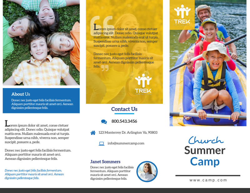 Modern Church Camp Tri-Fold Brochure Template Preview 2