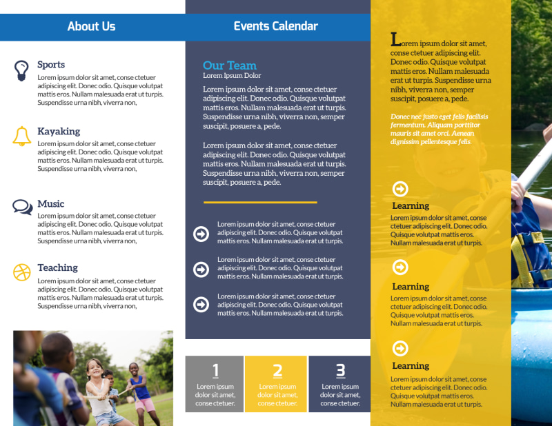 Modern Church Camp Tri-Fold Brochure Template Preview 3