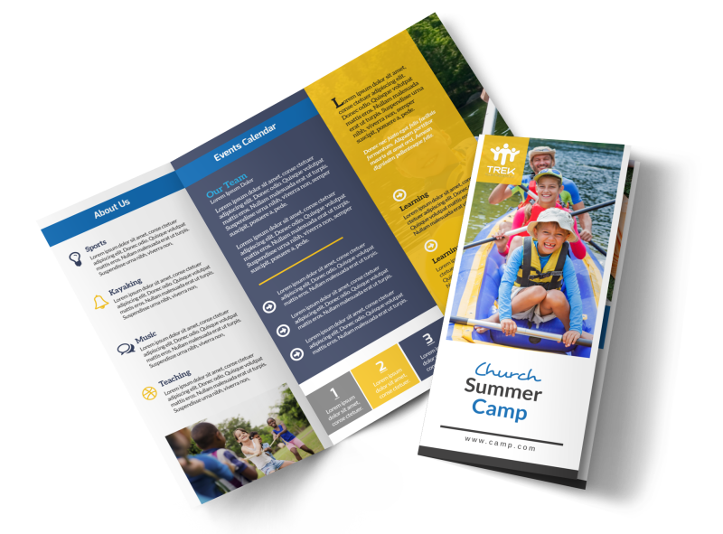 Modern Church Camp Tri-Fold Brochure Template Preview 1