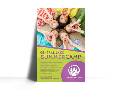 Lake Summer Camp Poster Template preview