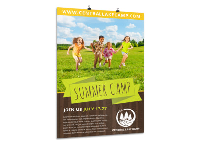 Summer Camp Adventure Poster Template preview