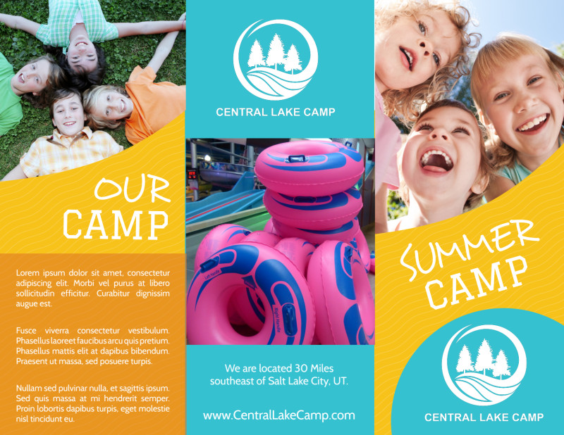 Fun Summer Camp Tri-Fold Brochure Template Preview 2