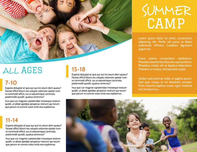 Fun Summer Camp Tri-Fold Brochure Template Preview 3