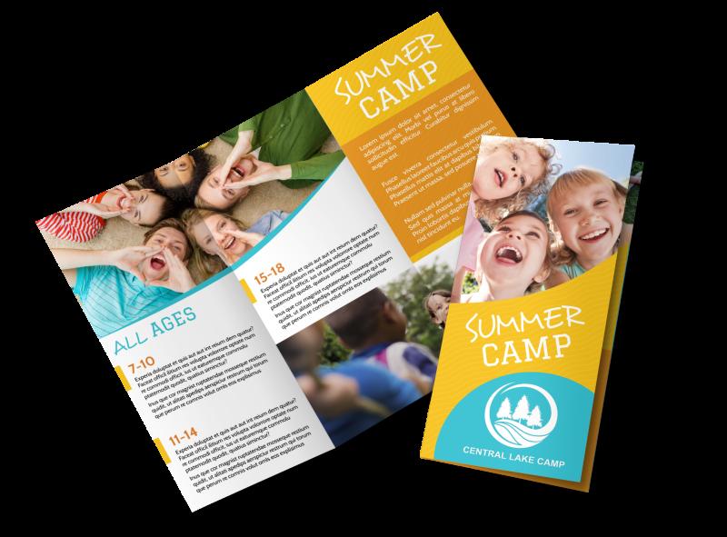 Fun Summer Camp Tri-Fold Brochure Template Preview 1