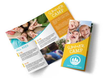 Fun Summer Camp Tri-Fold Brochure Template preview