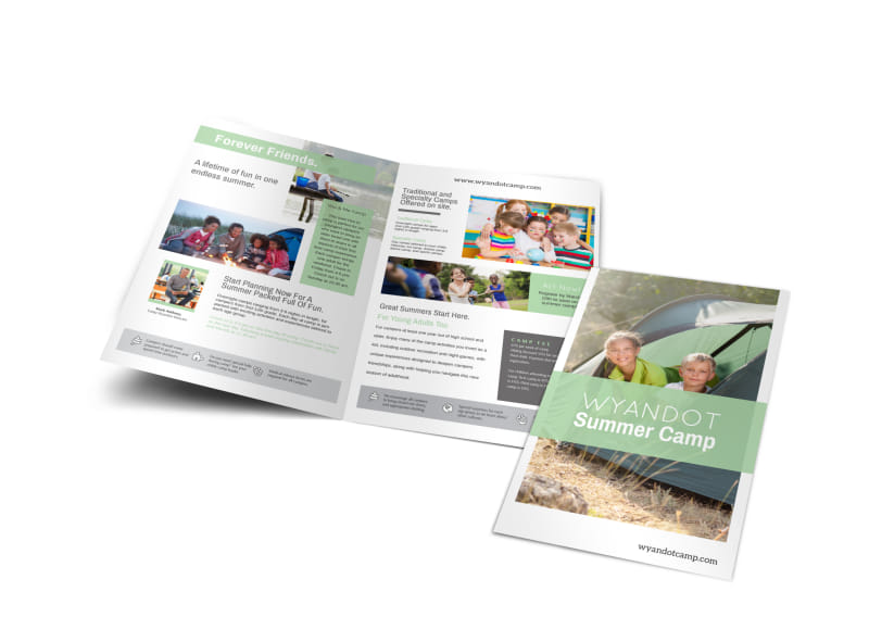 Friendly Summer Camp Bi-Fold Brochure Template
