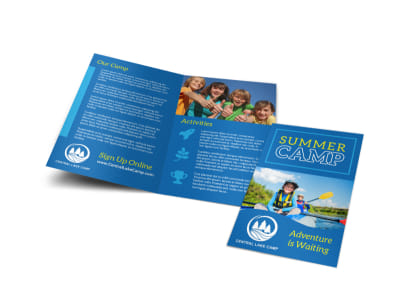 Blue Summer Camp Bi-Fold Brochure Template preview
