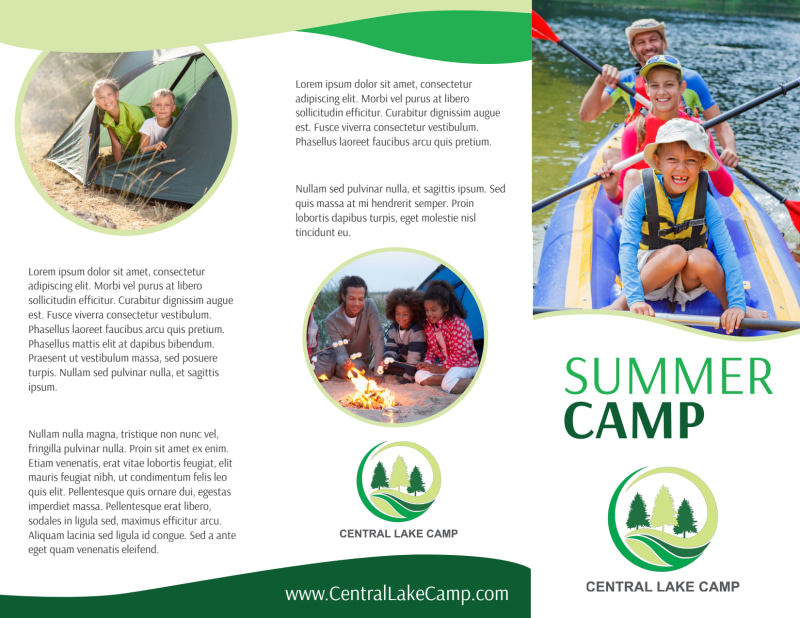 Nature Summer Camp Tri-Fold Brochure Template Preview 2