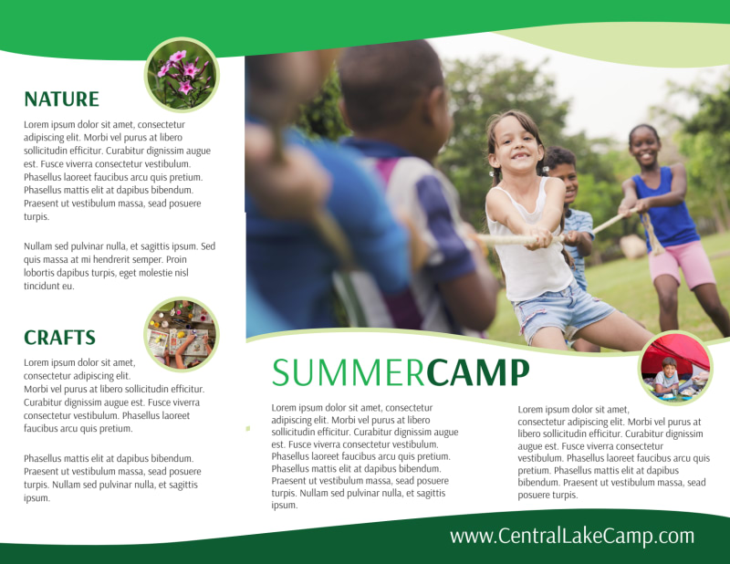 Nature Summer Camp Tri-Fold Brochure Template Preview 3