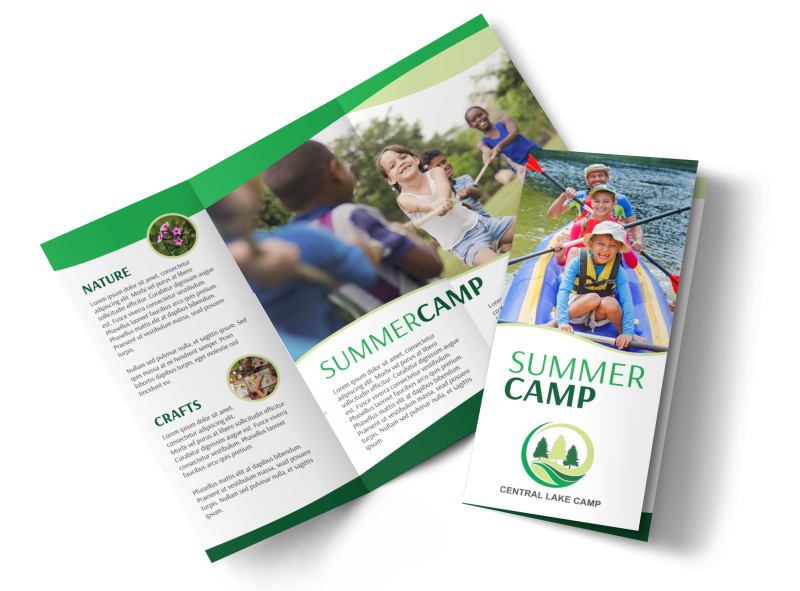 Nature Summer Camp Tri-Fold Brochure Template Preview 1