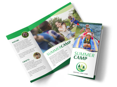 Nature Summer Camp Tri-Fold Brochure Template preview