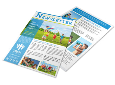 Classic Summer Camp Newsletter Template preview