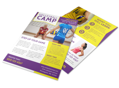Elite Volleyball Camp Flyer Template preview