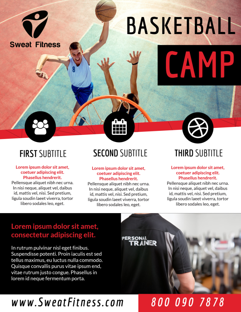 Sports Camp Basketball Flyer Template Preview 2