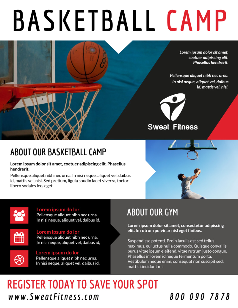Sports Camp Basketball Flyer Template Preview 3