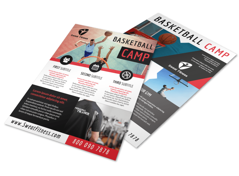 Sports Camp Basketball Flyer Template Preview 1