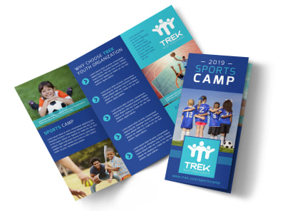 Awesome Sports Camp Tri-Fold Brochure Template preview