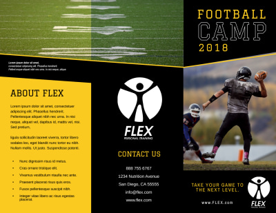 Football Camp Tri-Fold Brochure Template Preview 1
