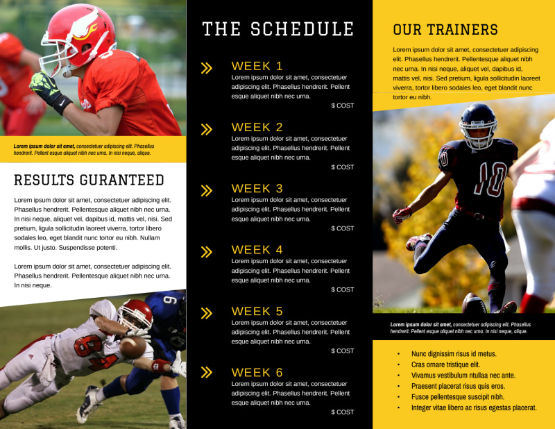 Football Camp Tri-Fold Brochure Template Preview 3