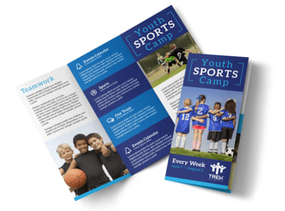 Youth Sports Camp Tri-Fold Brochure Template preview