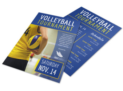 Blue Volleyball Tournament Flyer Template