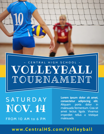 Classic Volleyball Tournament Flyer Template Preview 1