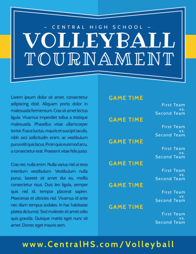 Classic Volleyball Tournament Flyer Template Preview 2