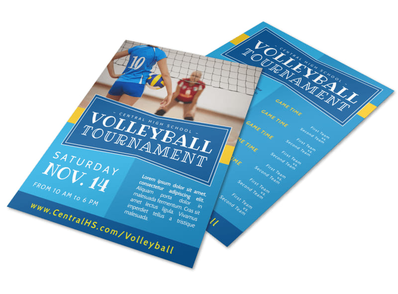 classic volleyball tournament flyer template mycreativeshop