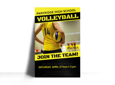 Volleyball Try Outs Poster Template preview