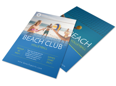 Beach Club Volleyball Flyer Template preview