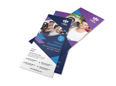 Blue Fitness Competition Flyer Template preview