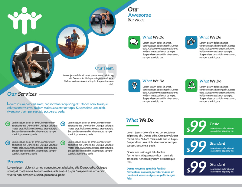 Fitness Pricing Bi-Fold Brochure Template Preview 3