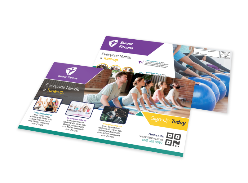 Fitness Sign Up EDDM Postcard Template Preview 1