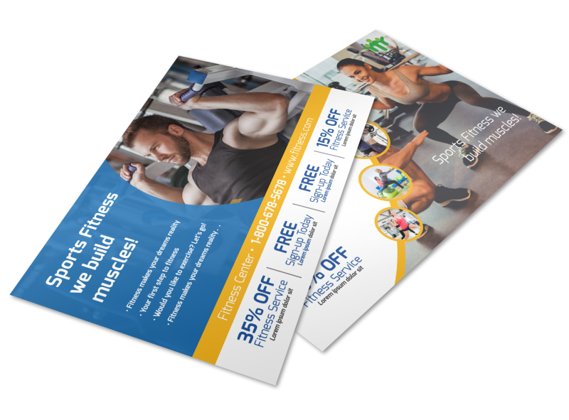 Sports Fitness Postcard Template