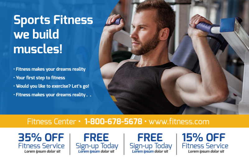 Sports Fitness Postcard Template Preview 2