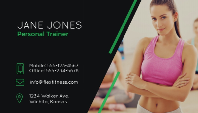 Black Fitness Business Card Template Preview 2