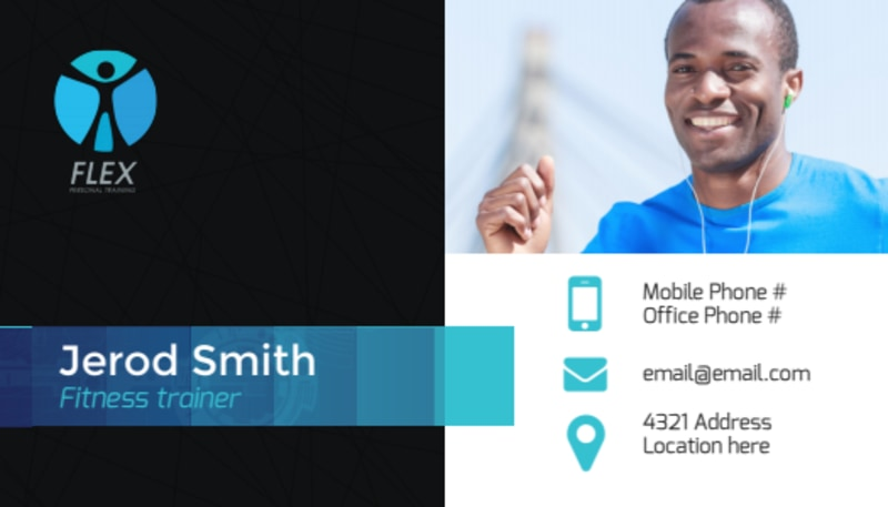 Black & Blue Fitness Business Card Template Preview 2