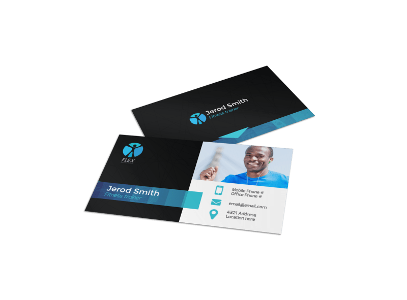 Black & Blue Fitness Business Card Template Preview 1