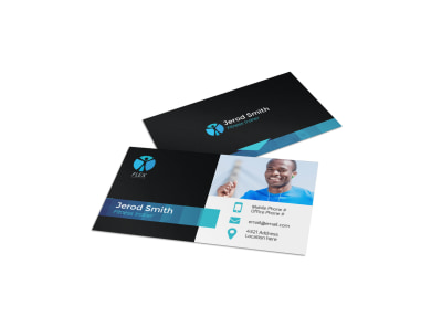 Black & Blue Fitness Business Card Template preview