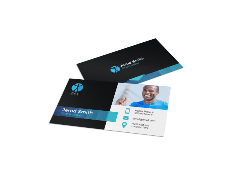 Black & Blue Fitness Business Card Template