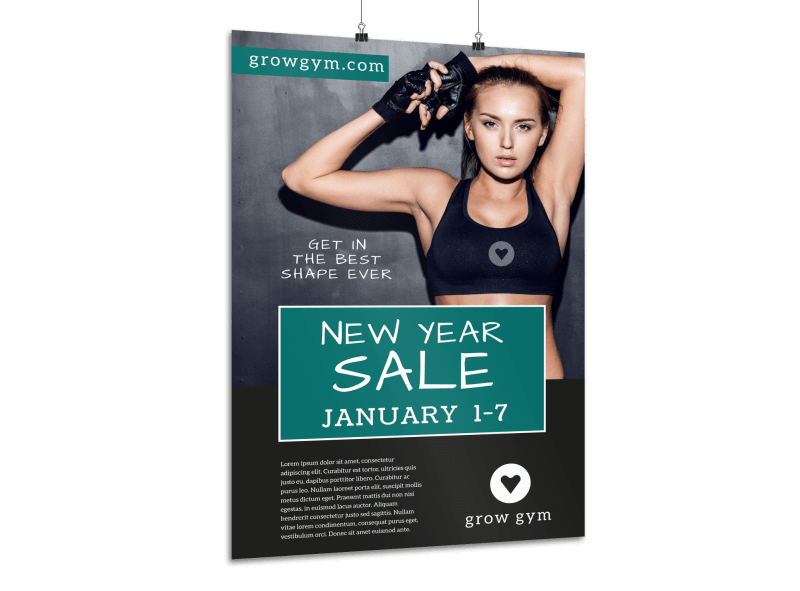 New Year's Gym Sale Poster Template Preview 1