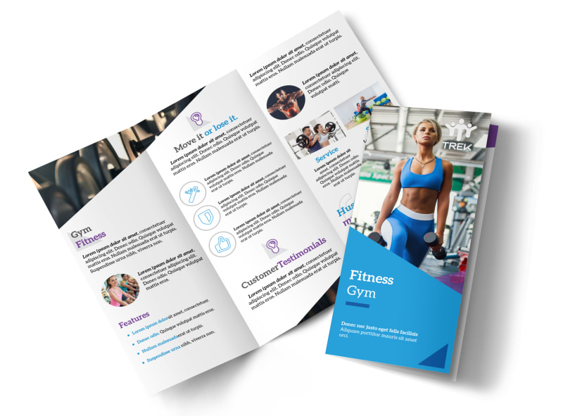 Blue Fitness Gym Tri-Fold Brochure Template